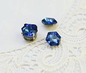 Стразы стеклянные 8 мм (SS39), синие