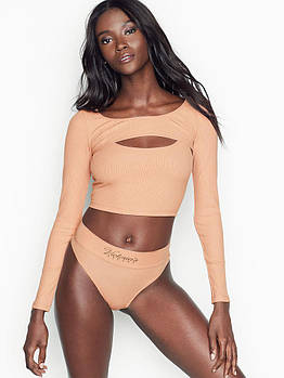 Женский спортивный топ Victoria's Secret Оригинал Ribbed Long-sleeve Crop Top