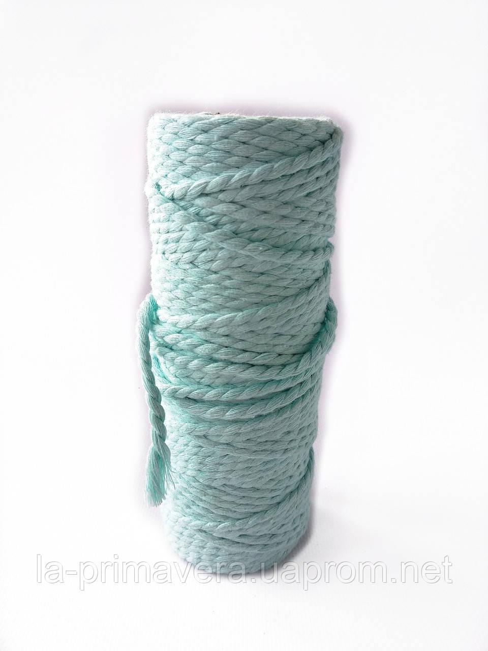 Хлопковая крученая веревка для вязания 4 мм мятного цвета