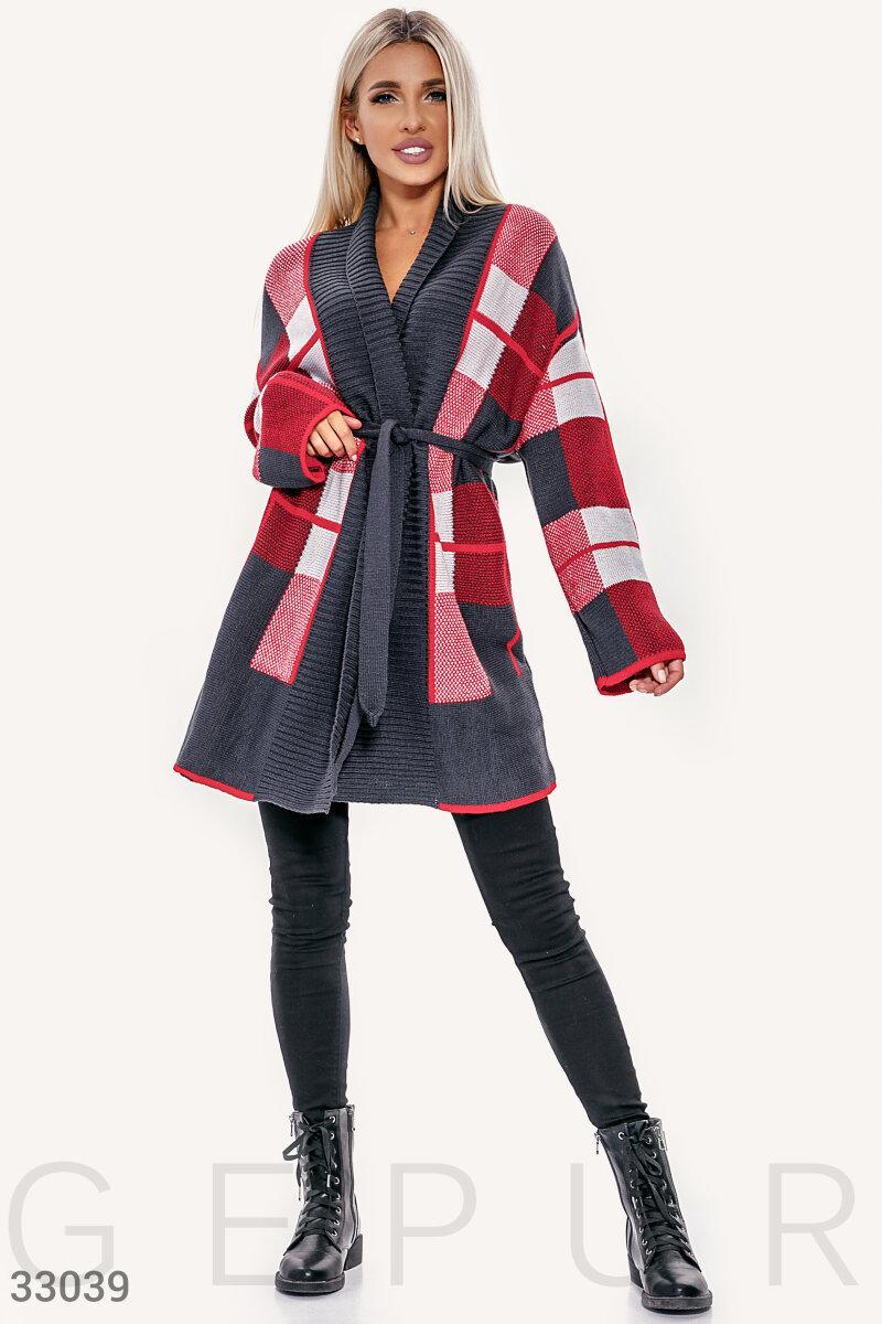 Удлиненный вязаный кардиган oversize красно-серый