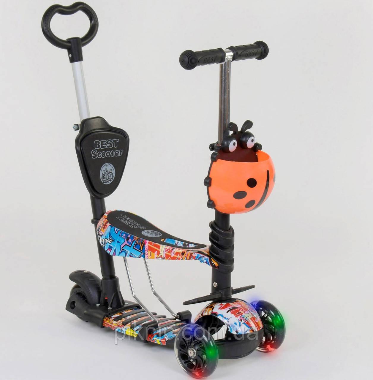 Детский самокат Мультик 5в1 для мальчиков от 1 года, колеса светящиеся, сидение, ручка. Черный