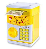 """🔝 Детский сейф с кодом, для денег, игрушечный (""""Пикачу"""", желтый) копилка детская музыкальная   дитячий сейф   🎁%🚚"""