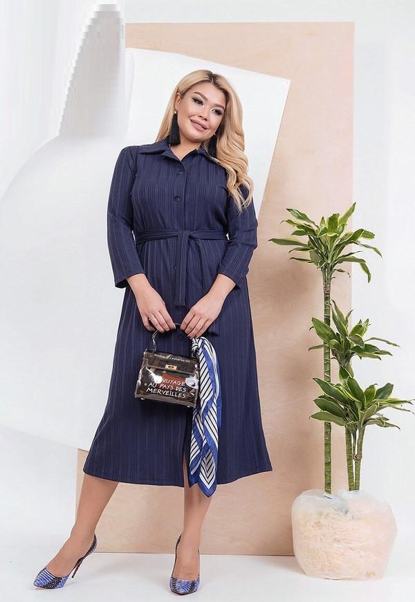Повседневное трикотажное платье рубашка 59227 (48–58р) в расцветках