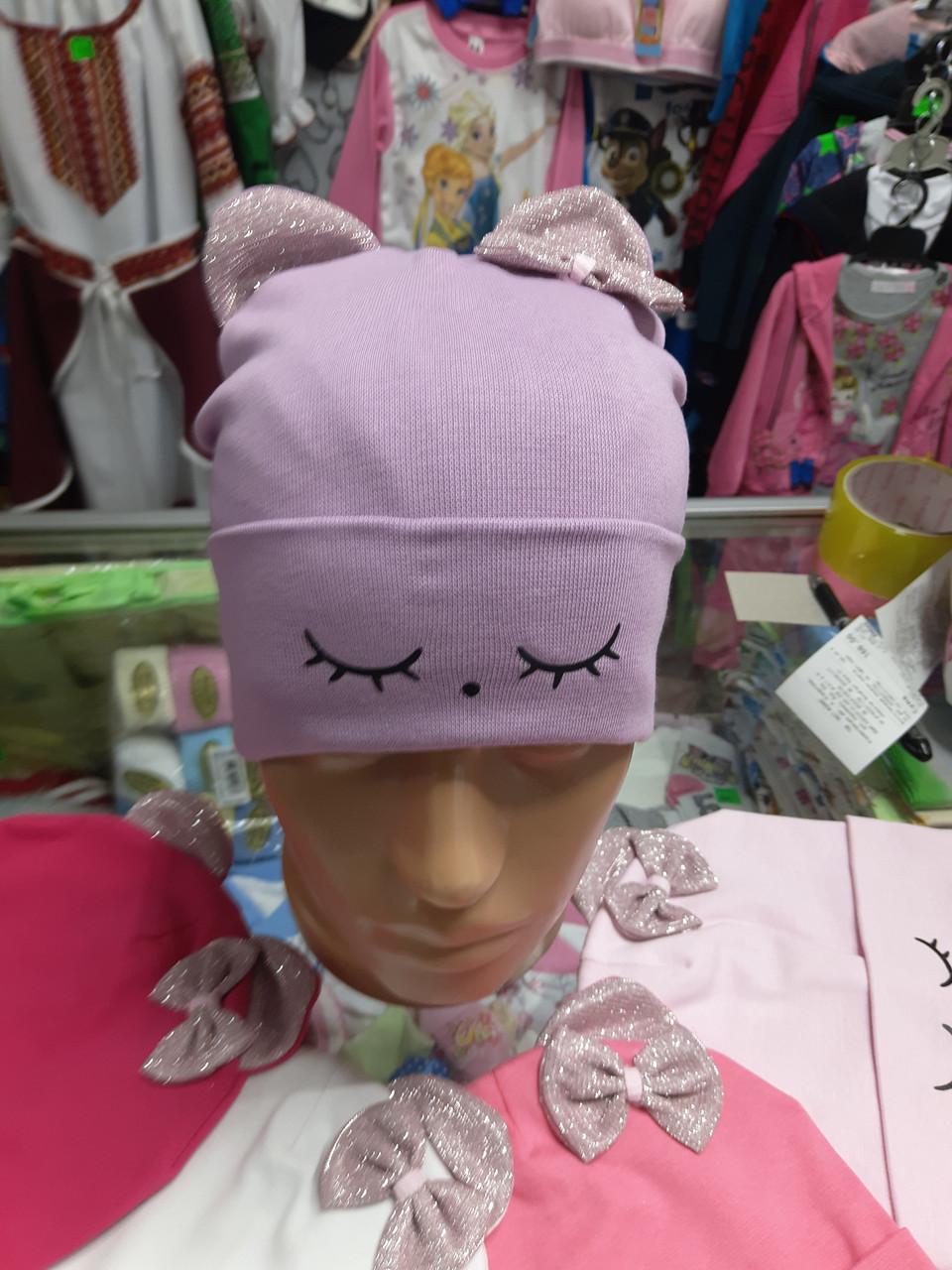 Трикотажная двойная шапка для девочки с ушками р.48 - 52