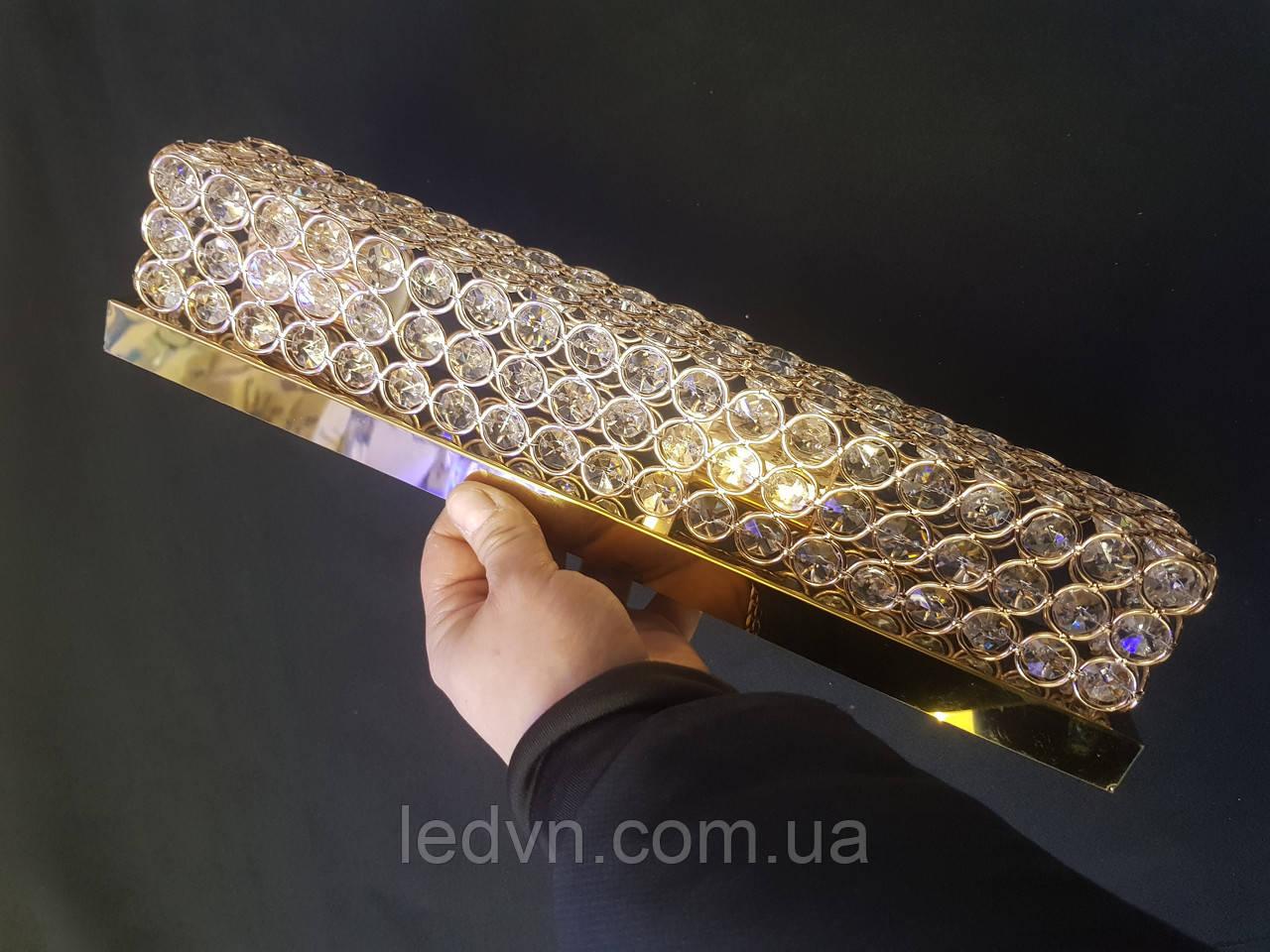 Хрустальная подсветка для зеркала, картины золото на две лампочки Е14