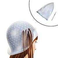Шапка шапочка для мелирования волос с крючком многоразовая, силиконовая