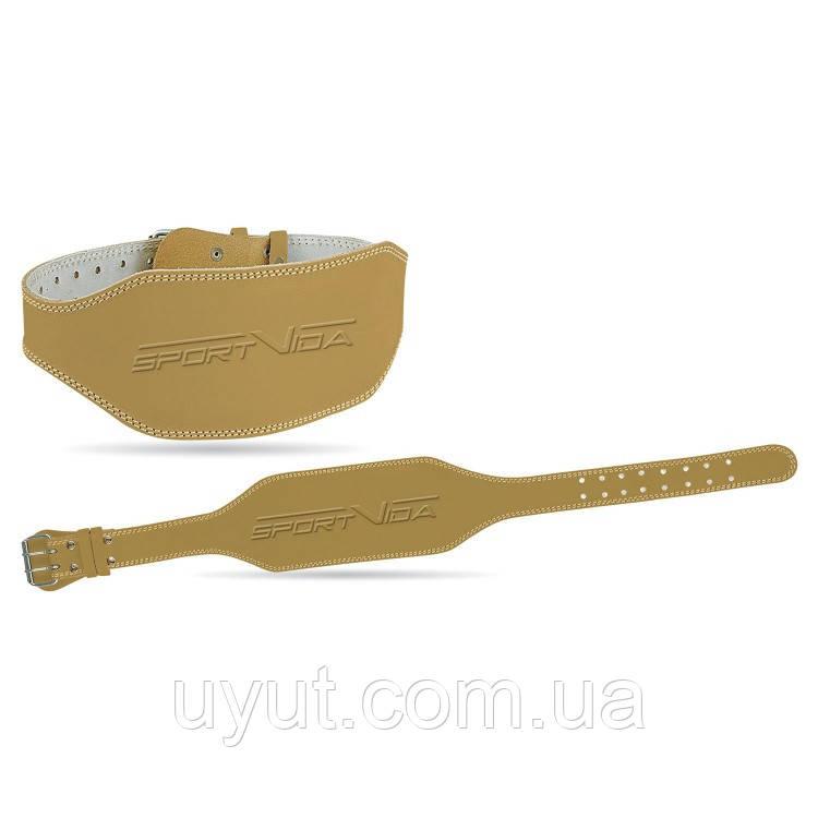 Пояс для тяжелой атлетики кожаный SportVida SV-AG0055 (XL) Beige
