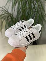 Кроссовки мужские Adidas Superstar белые, Адидас Суперстар, натуральная кожа, прошиты. Код DR-00248