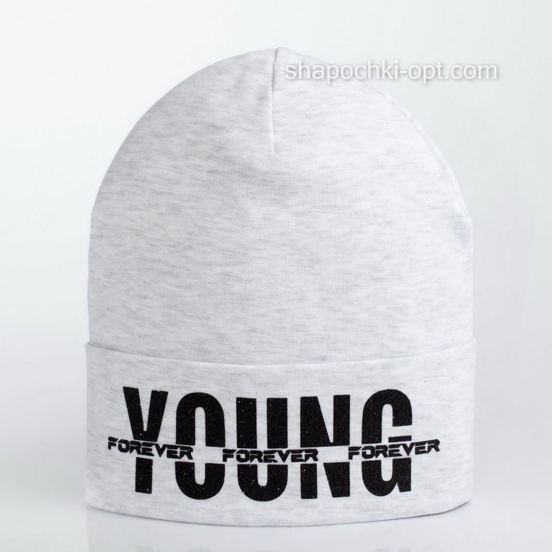 Трикотажная шапка в спортивном стиле с отворотом серый меланж
