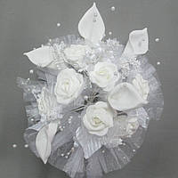 Роза свадьба латекс 6090-2 букет искусственный