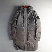Мужская демисезонная серая куртка-пальто (наполнитель- натуральный пух), размер ХL