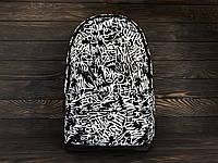 Молодіжний міський рюкзак з принтом графіті, чорно-білий