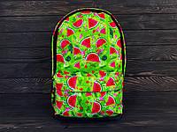 Яскравий літній рюкзак тропік з арбузиками/кавунами, салатовий