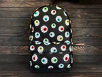 Молодежный городской рюкзак с принтом из глаз/глазных орбит, черно-белый
