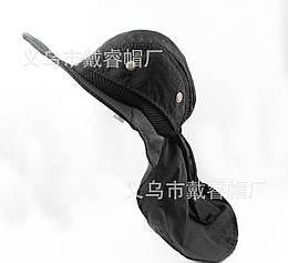 Кепка / шляпа походная туристическая с вентиляцией и защитой шеи от солнца / загара (5 РАСЦВЕТОК) ЧЁРНЫЙ