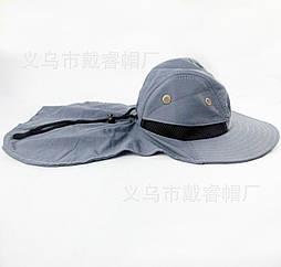 Кепка / шляпа походная туристическая с вентиляцией и защитой шеи от солнца / загара (5 РАСЦВЕТОК) СЕРЫЙ