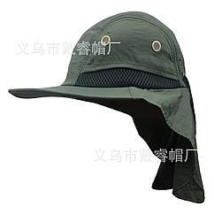 Кепка / шляпа походная туристическая с вентиляцией и защитой шеи от солнца / загара (5 РАСЦВЕТОК) ЗЕЛЁНЫЙ