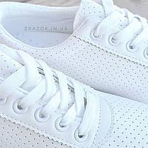 ОСТАННІ РОЗМІРИ 36, 39 Білі кросівки еко - шкіра текстиль мокасини легкі літні дихаючі перфорація, фото 2