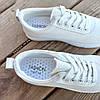 Белые кроссовки эко - кожа текстиль слипоны мокасины легкие летние дышащие перфорация на шнурках, фото 2
