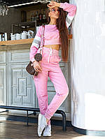 Женский трикотажный прогулочный костюм кофтой-топом (Джонс jd)