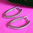 Серебряные серьги с цирконием - Женские серебряные серьги с фианитами, фото 7