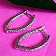 Серебряные серьги с цирконием - Женские серебряные серьги с фианитами, фото 6
