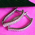 Серебряные серьги с цирконием - Женские серебряные серьги с фианитами, фото 5
