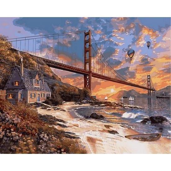 Картина по номерам Мост Золотые ворота VP825 в коробке Babylon 40х50см Пейзаж, природа