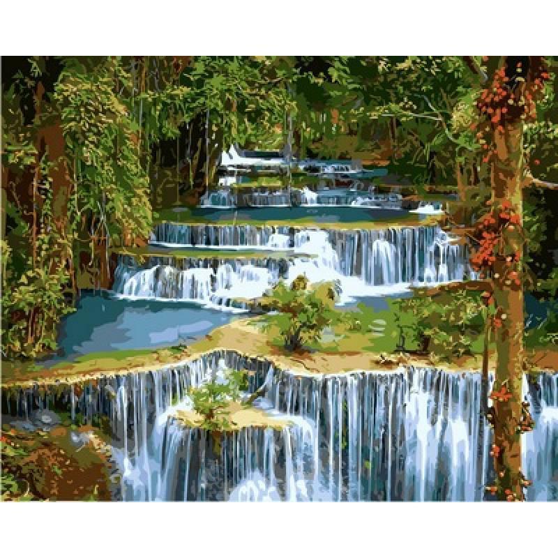 Картина по номерам Каскадный водопад в лесу VP912 в коробке Babylon 40х50см Пейзаж, природа