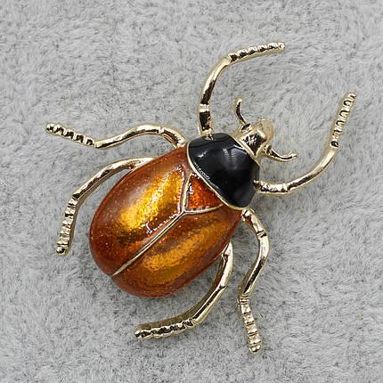 Брошь Жук коричневая и черная эмаль 40х40мм металл золотого цвета, фото 2