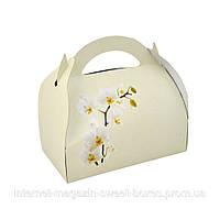 Коробочки для торта на свадьбу с принтом орхидея. Коробка для каравая, кондитерская упаковска