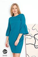 Бирюзовое платье свободного кроя. Модель 24143. Размеры 42-48