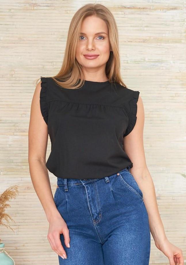 Легкая блуза черного цвета без рукавов. Модель 24145. Размеры 42-48