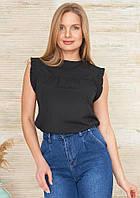 Легкая блуза черного цвета без рукавов. Модель 24145. Размеры 42-48, фото 1