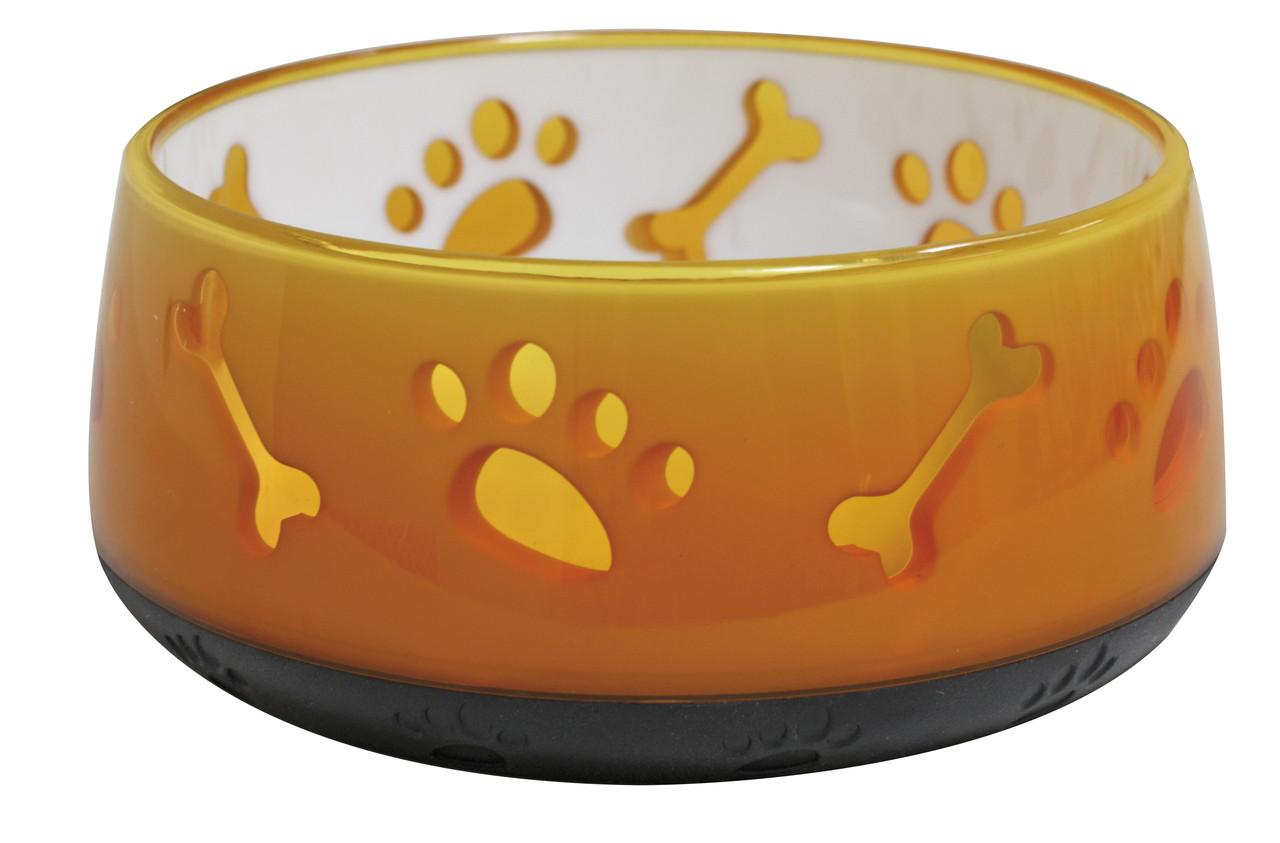 Миска CROCI Doggy, пластик, полупрозрачная, прорезиненное дно, оранж, 0,3л, 10см