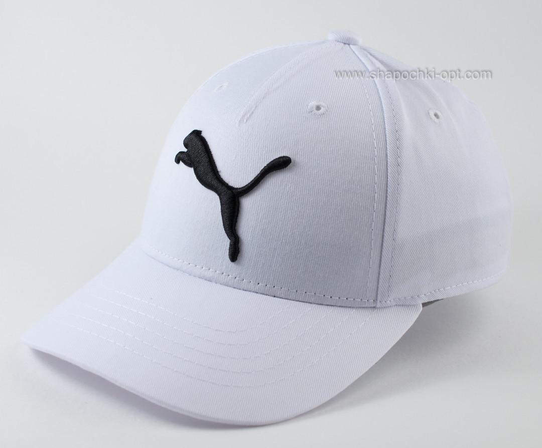 Бейсболка спортивная  из коттона  цвет белый с черной вышивкой