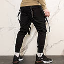 Карго штаны джоггеры (джогери) черные со стропами подростоковые размеры (чорні штани для підлітків), фото 4