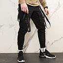 Карго штаны джоггеры (джогери) черные со стропами подростоковые размеры (чорні штани для підлітків), фото 5