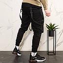 Карго штаны джоггеры (джогери) черные со стропами подростоковые размеры (чорні штани для підлітків), фото 3