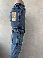 Укороченные Джинсы женские КАРГО ЛАСТОЧКА с резинкой на поясе,  карманами на ногах и манжетами