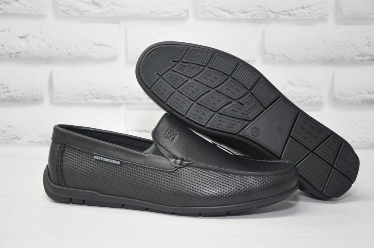 Шкіряні чоловічі чорні мокасини весна/літо Bertoni-shoes