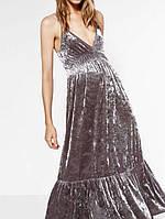 Платье женское длинное изящное серое сарафан бархат Zara (размер 44-46, S-M, EU36-40)