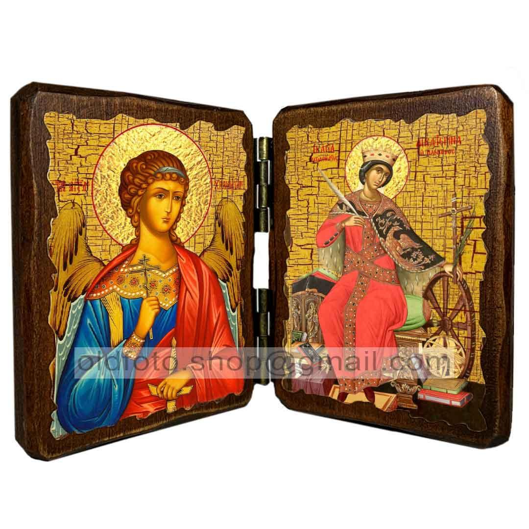 Икона Екатерина Святая Великомученица Александрийская (складень двойной 140х100мм)