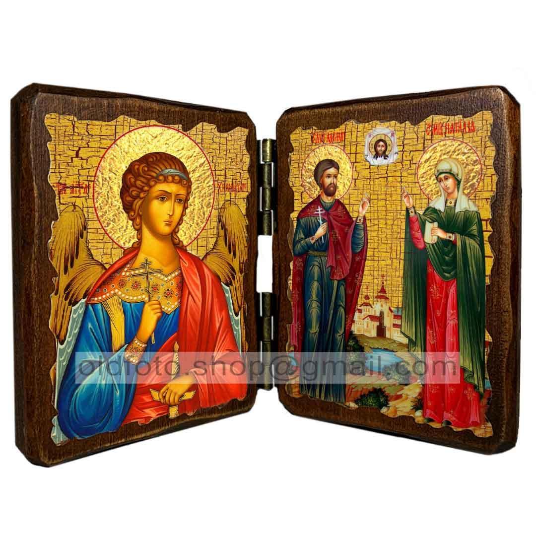 Икона Адриан и Наталия Святые Мученики (складень двойной 140х100мм)