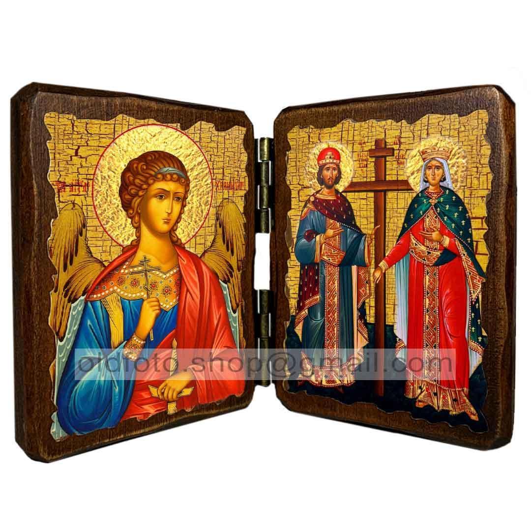 Икона Константин и Елена Святые Равноапостольные (складень двойной 140х100мм)