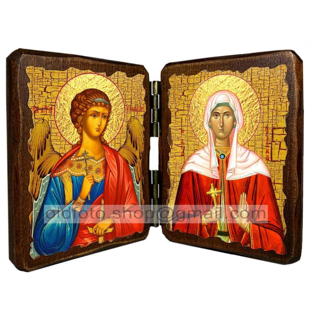 Икона Христина (Кристина) Святая Мученица (складень двойной 140х100мм)