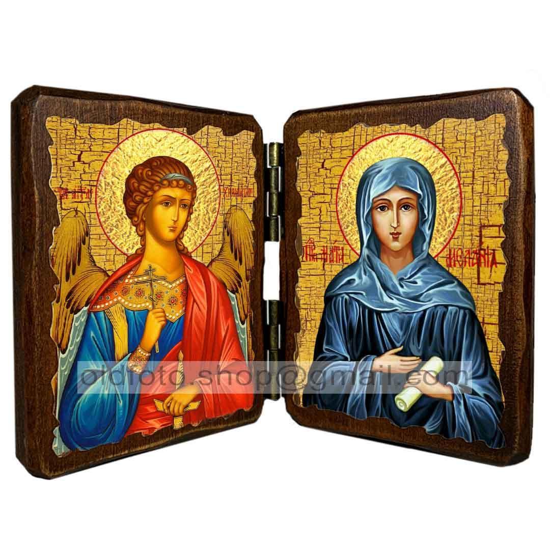 Икона Мелания Святая Римляныня (складень двойной 140х100мм)