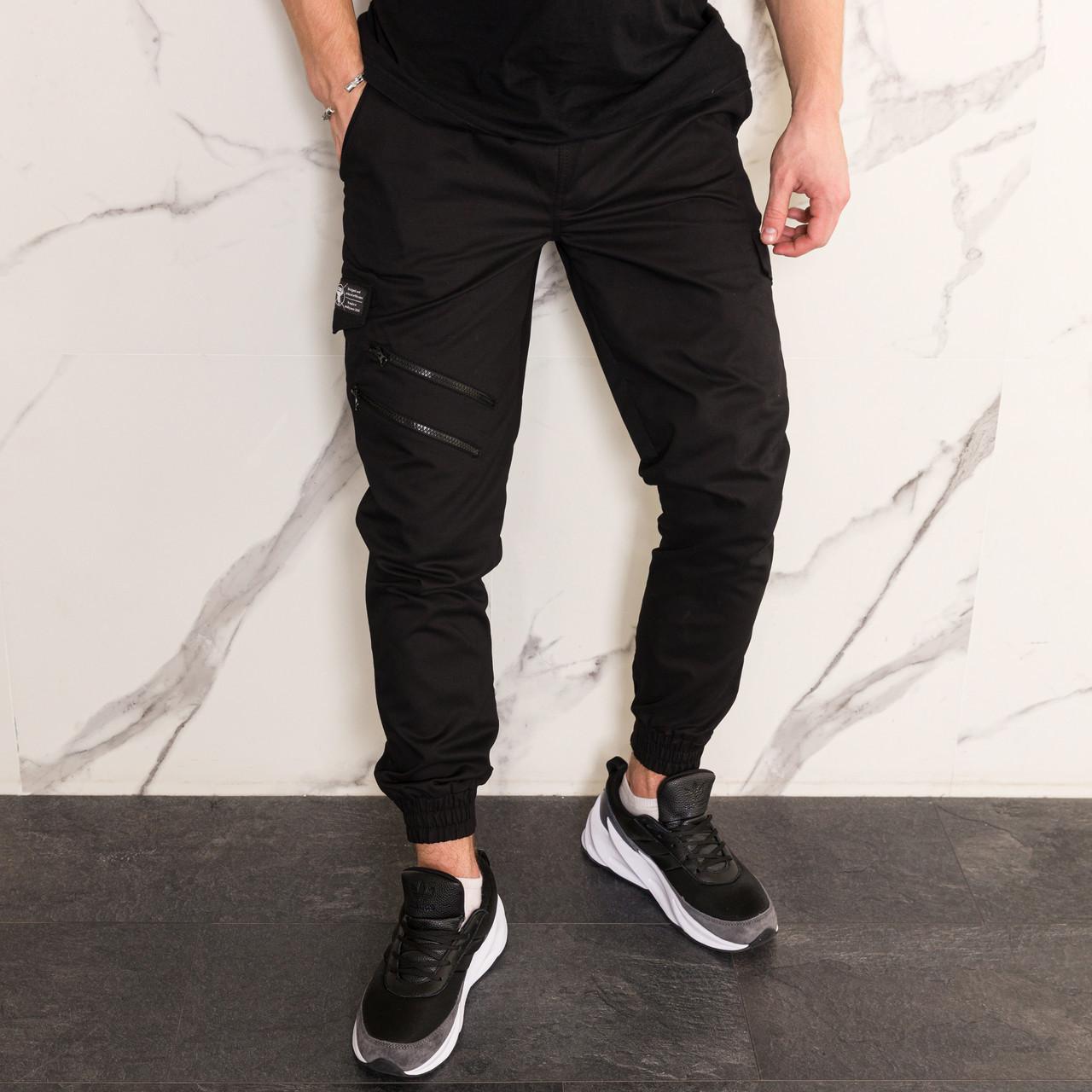 Штаны джоггеры карго мужские черные от бренда ТУР  модель Инк (Ink)