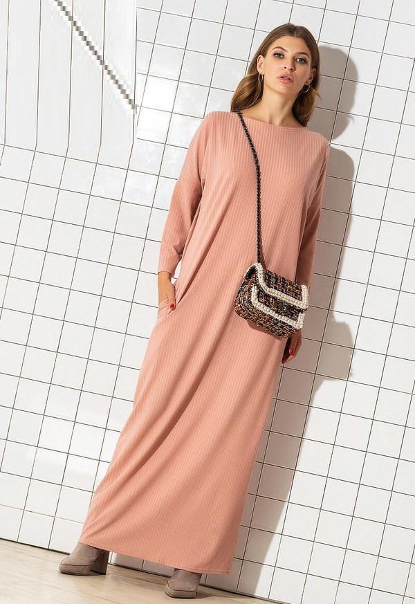 Длинное свободное трикотажное платье 53964 (46–60р) в расцветках