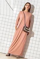 Длинное свободное трикотажное платье 53964 (46–60р) в расцветках, фото 1